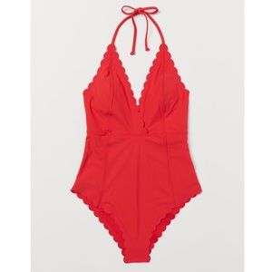 EUC H&M Red Scalloped-Edge One piece swimsuit Sz 8